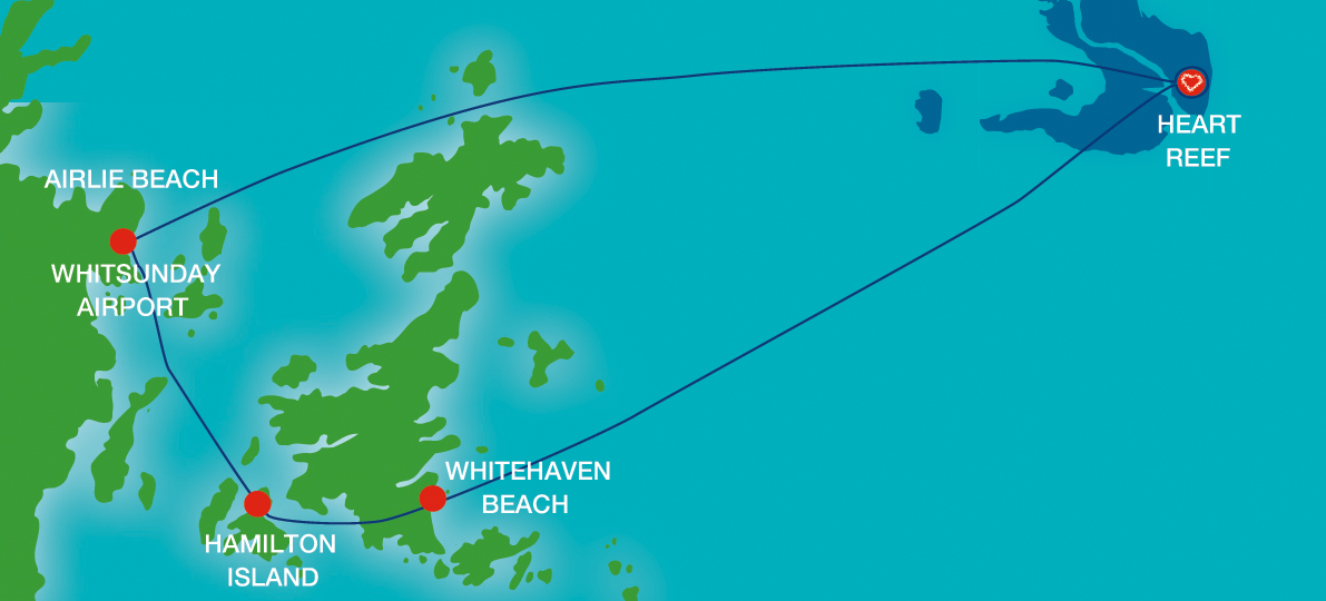 Heart Reef and Whitehaven Beach Express Scenic Tour Map